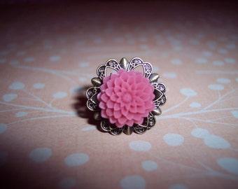 Dark Magenta Flower Brass Ring