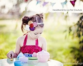 """LIMITED EDITION - Vintage """"Tea Party """" Signature Luxe Headband with Cream Poof - also matches Matilda Jane """"You and Me"""" and Persnickity line"""