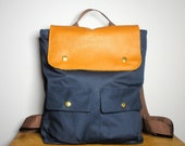 City Backpack in Navy Canvas/ Backpack/ Women/ Laptop Bag/ Tan Leather/ Back To School/New York