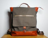 Metro Backpack in Brown Canvas Twill with Burnt Orange Leather Trims and Multiple Pockets --Limited Edition--
