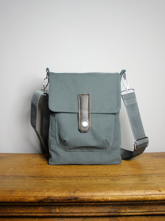 Mini Crossbody Messenger Bag in Gray Canvas, Leather trim, Removable Strap, Handmade in New York