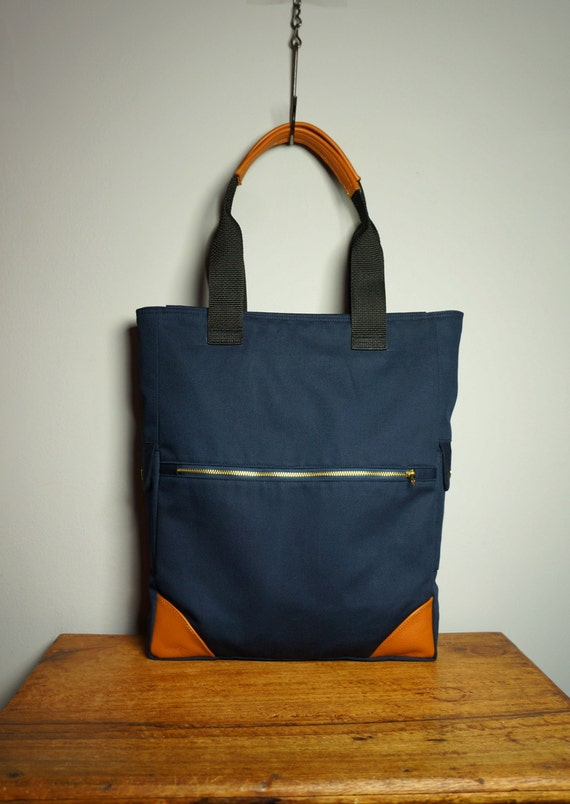 Metro Tote in Navy Canvas Twill/ Tan Leather/ Messenger/ Laptop Bag/ Briefcase/ Handmade in New York