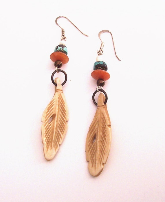 Semiprecious Stones with Bone Feather Earrings