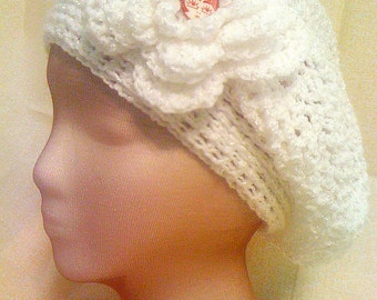 Slouchy White Hat w/ Detachable Embellishment