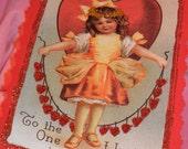 Vintage Victorian Polka Dot Valentine Postcard Banner Set of 3