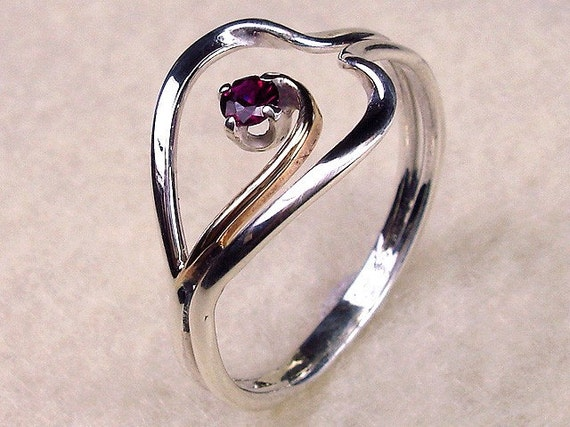 Mothers Day Heart Sterling Silver with 14kt Gold Filled Ruby Cubic Zirconia Ring