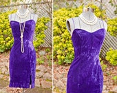 SALE Sexy Purple Crushed Velvet Party Wiggle Dress with Slit