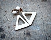 60s Mod White Clip On Triangle Earrings