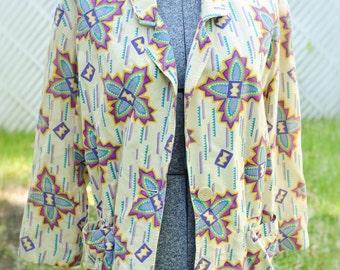 Navajo Southwestern Tribal Neon Print 80s Blazer Jacket