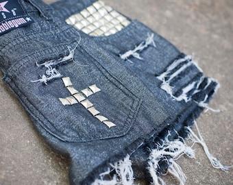 90s Grunge Upcycled Black Cut Off Shiny Studded Ripped Shredded Shorts