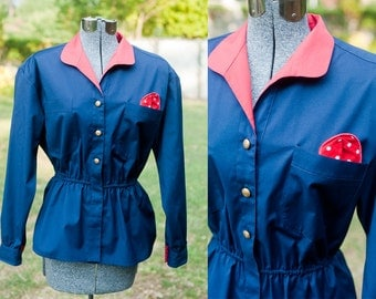 80s Red and Navy Blue Sailor Nautical Tunic Top