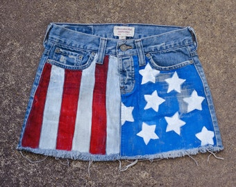 ON SALE Hand painted American Flag Stars and Stripes Distressed Micro Mini Skirt Sz 0 XS