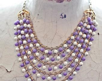 60s Purple and White Multi Strand Choker Necklace