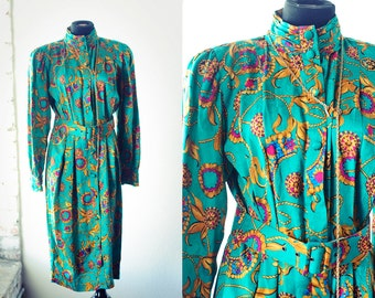 Green floral print SILK Adriana Papell Belted Dress