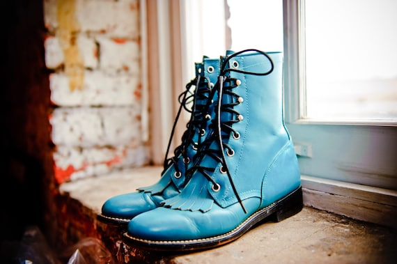 Turquoise Blue Justin Roper Style Boots 5.5 Men / 7 Women