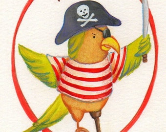 Pirate Parrot Print 5x7 by Megumi Lemons