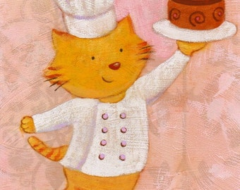 Chef Kitty Print 5x7 by Megumi Lemons