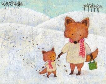 Christmas Foxes Print 8x10 by Megumi Lemons