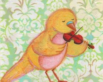 Birdie Violin Lesson Print 8x10 by Megumi Lemons