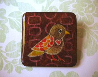 Hand Painted Bird Love Large Brooch by Megumi Lemons