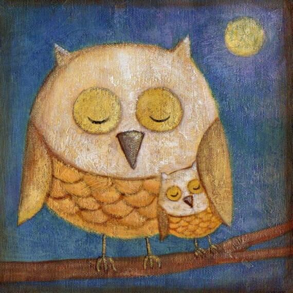 Sleeping Owls Print 5x7 by Megumi Lemons