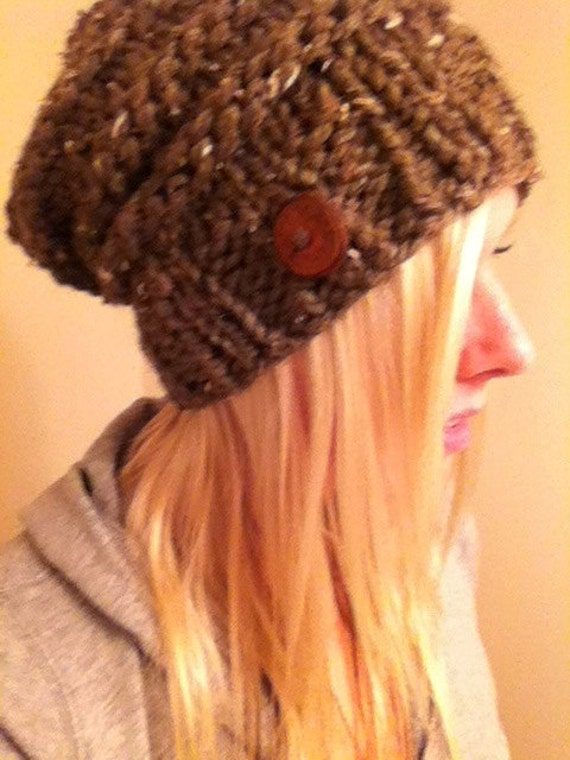 Brown Slouchy Chunky Beanie Hat With Wood Button Hand Knit Warm Cozy