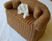 Couch and Pillows Tissue Box Cover - Hand-Crocheted - Includes a FREE GIFT