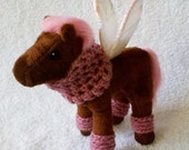 RESERVED FOR BETH - Plush Horse (Pegasus) with Cowl and Legwarmers - a 5-piece accessory set - Play Jewelry for a Little Girl