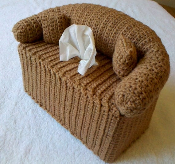 Free Crochet Pattern For Sofa Tissue Box Cover : Couch and Pillows Tissue Box Cover Hand-Crocheted Includes