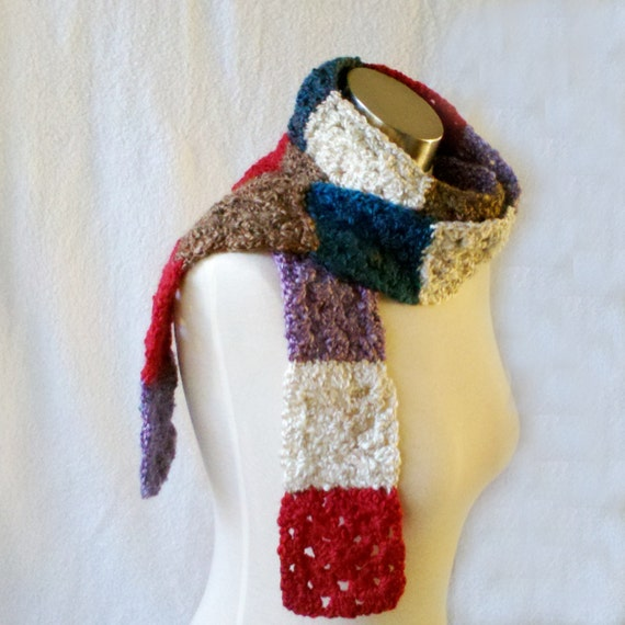 HALF OFF COUPON Inside ~ Extra Long Granny Square Scarf - Waist Belt - Hip Belt - Pearl, Red, Brown, Purple, Teal - Multi-Use Scarf