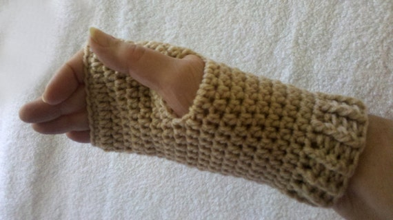 Unisex Fingerless Gloves - For Driving and Keyboard - LARGE Woman's or MEDIUM Man's - Buff - READY to Ship