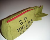 Bomb Zippered Pouch- Flying Parts Army Green Bomb Bag