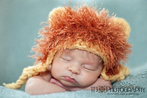 Baby Lion Beanie - Newborn, 0-3m, 3-6m & 6-12m - MADE TO ORDER
