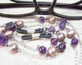 Amethyst Beaded EYEGLASS CHAIN,  On Sterling Silver Chain With Freshwater Pearls