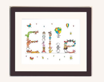 custom baby name digital print with animal letters, new baby gift