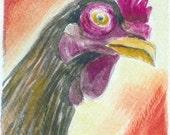 Watercolor ACEO Original  Chicken With An Attitude SFA