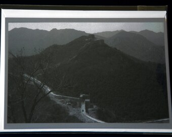 """Great Wall of China, photo notecard, 4.25""""x5.5"""", black and white, blank"""