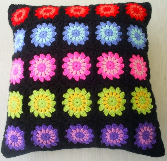 the electric colored granny square cushion / pillow cover