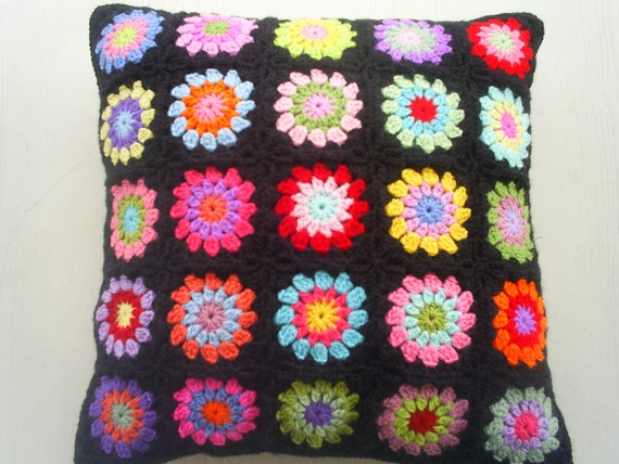 the rainbow granny square cushion cover