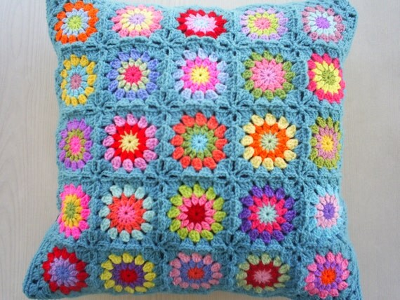 the colors in teal granny square cushion cover / pillow cover