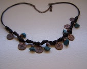 Necklace with Turquoise Stones on Oxidized Metal Discs FREE Shipping