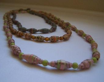 Vintage Paper Mache Necklaces 3 In Graduating Lengths