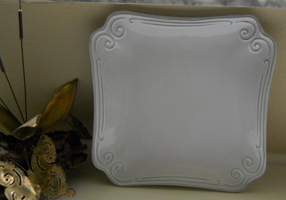 Italian Wedding Plate White with Scroll Designs Made in Italy