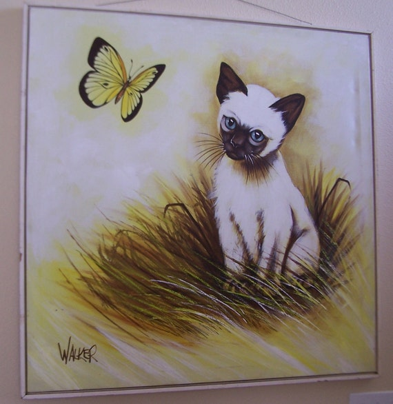 1960s Walker Canvas Painting Over 3ft Long and Wide LARGE Cat and Butterfly in a Tall Grassy Field of Yellow and Brown