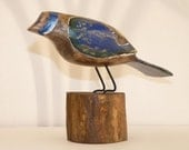 Primitive Folk Art Wood Bird Carving, rustic  Blue bird for the Cabin, tweet tweet