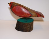 Folk Art John Lynch Wooden Super Fat Mama Red Bird Carving Primitive Rustic Style using Maple b3