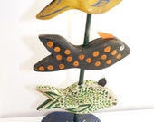 John Lynch, Fish Stick Primitive Style Wood Carving,  Folk Art Swimmers ,Rough Cut, Rustic from Salvaged Pine b1