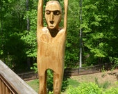 John Lynch. Wood Sculpture , Primitive Folk Art Wood Carving , Victory ,Rustic , Yellow Maple Sculpture OOAK