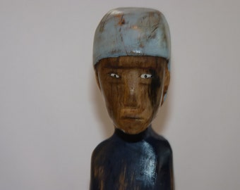 John Lynch, Simple Lady with Blue Scarf, Blue Dress ,Rustic Mayan Look, Spalted Maple, Wood Art Sculpture Carving,  b2