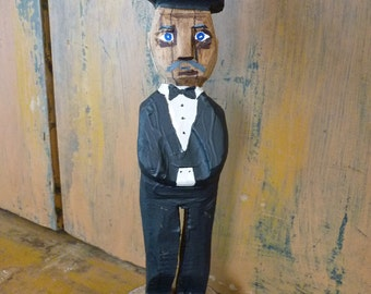 John Lynch, Wood Art Sculpture, Undertaker or Brides Dad, Crooked Politician, Folk Art Wood Carving Man with Top Hat